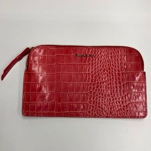 Paule Ka patent Leather croc embossed clutch bag